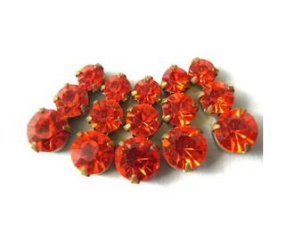 5 Vintage Swarovski jewelry findings 3 rhinestone crystals in brass setting, orange