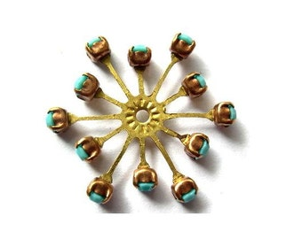 Vintage SWAROVSKI flower bead 32mm turquoise opaque crystals in brass setting  genuine 1100 made in Austria