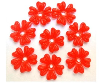 20 beads, 5 petals red flower beads, vintage, 16mm, flexible plastic, RARE