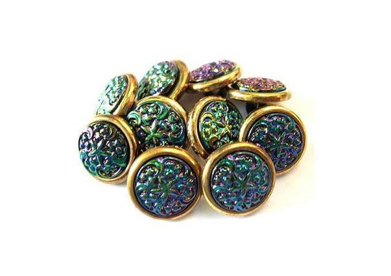 10 Vintage trim buttons colorful green purple center 13mm beautiful for button jewelry