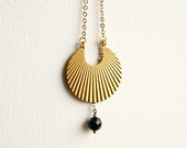 Egyptian necklace with brass hoop and dark blue black gold stone, galaxy jewelry, ethnic necklace
