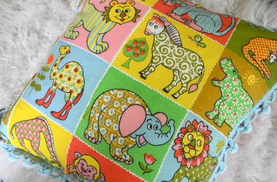 vintage mid century modern zoo animals pillow cover 16x16