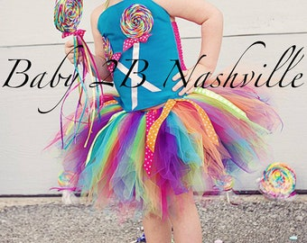 Candyland Costume Tutu  Lollipop Costume Set Candy Costume Girls Costume Birthday Dress Party Dress Baby Costume Toddler Costume All Sizes