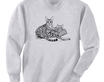 Savannah Cat Mom and Kittens Art Men's Sweatshirt Small - 2XL