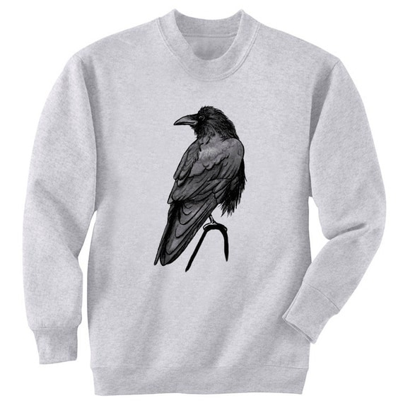 Single Raven Bird Crow Art Men's Sweatshirt Small - 2XL