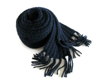 Navy Blue Scarf, Chunky Knit Scarf, Long Scarf, Mens Scarf, Womens Scarves, Winter Accessories, Wool Scarf, Fringes Scarf, Soft Scarf
