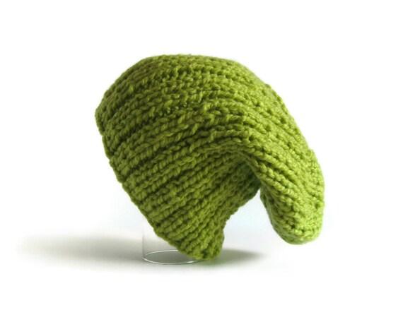 Slouchy Hat Beanie Knit in Chartreuse Green Acrylic Wool Blend Yarn
