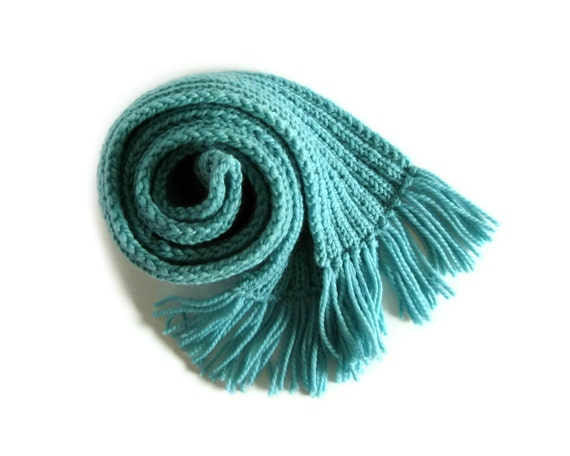 Chunky Knit Scarf in Robin Egg Blue Merino Wool - Long Ribbing Scarf with Fringes
