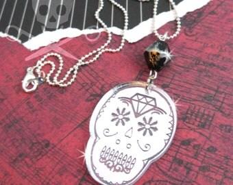 CUTE CALAVERAS - Laser Cut Acrylic Silver MIrror Sugar Skull Charm Necklace