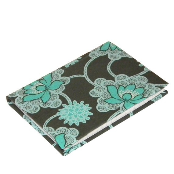 A6 lined Grey and Teal Daisy Chain Flower Notebook