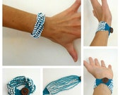 PDF Pattern - Crocheted Beaded Bracelet - Multiple strands