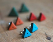Tiny Triangle post earrings in Turquoise