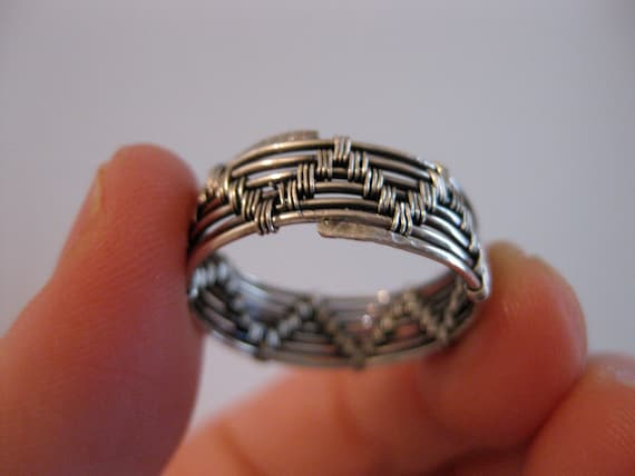 Items similar to Wire wrapped ring mens womens sterling silver