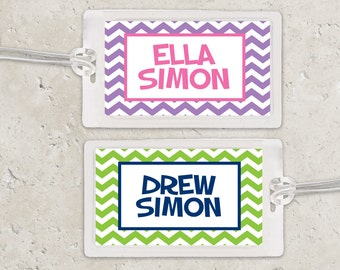 Kids Bag Tag Luggage Tag - Chevron Zig Zag - Pick your own colors
