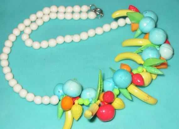 Vintage MOD Plastic Fruit Salad Necklace
