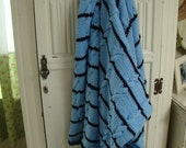 vintage blue and navy hand knitted cable knit afghan