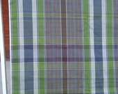 4 yards vintage fabric - 60s plaid shirting fabric - green brown gray plaid