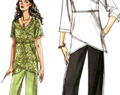 Vogue 8402 Asymmetric Tunic Top / Pants Pattern - Mock Wrap Top - Plus Size 16-22 - Uncut