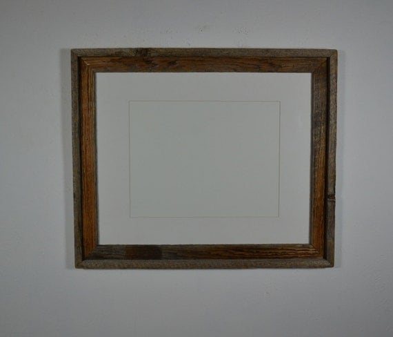 16x20 Decorative Wood Frame White Mat For 11x14 By Barnwood4u