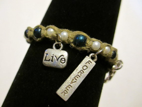 SALE! ONE 'Live Forever' Hemp Bracelet -adjustable by tying-one size fits all-