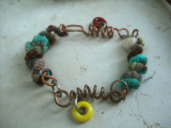 Coiled Wirecore Handspun and Upcycled Copper Sproing Bracelet from Handspun Jewelry Collection