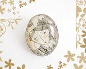 Simple Pin - April. Glass brooch. Romantic. Vintage. Girl illustration.
