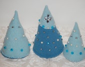 Felted Wool Christmas Trees Christmas Tree Set with Faux Pearls, Blue Crystal, Silvertone Beads, and Rhinestones Christmas decoration