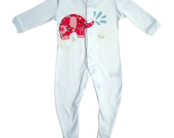 Elephant Sleepsuit / Personalised Babygro / Personalized Babygrow / All in One / Baby Clothes / New Baby Gift