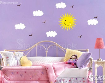 Sun wall decal - sky decal with clouds and birds - Vinyl Wall Decal Wall Mural Graphics - K034