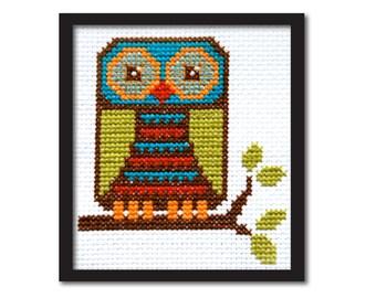 Cute Mod Owl Cross Stitch Pattern Instant Download