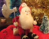 Antique Christmas French Spun Cotton and Paper Mache Elf with Axe