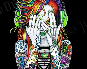 Synthea Psytrance Tattoo Musical Fairy 8x10 Signed PRINT