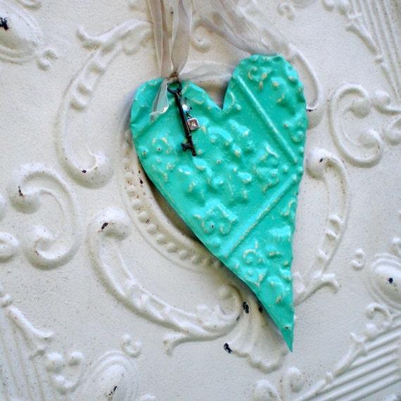 Key to my Heart Aqua Beach House Decor Antique Ceiling Tin Crystal Prism Vintage