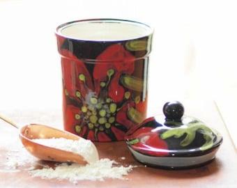 Cookie Jar Ceramic Cookie Jar Canister Kitchen Canister Red Poppy Large Canister Kitchen Storage Organization Gift for Baker Gourmet Gift RP