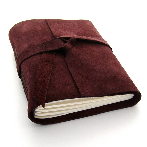 Autumn Leather Journal and Sketchbook, A Handmade Suede Journal in Burgundy and Brown READY TO SHIP