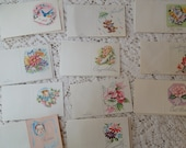22 Vintage Gift Tags Cards From the 1940's Flowers Clowns