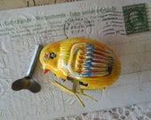 Vintage 1950's Tin Toy Chick Windup with Key Made in Japan