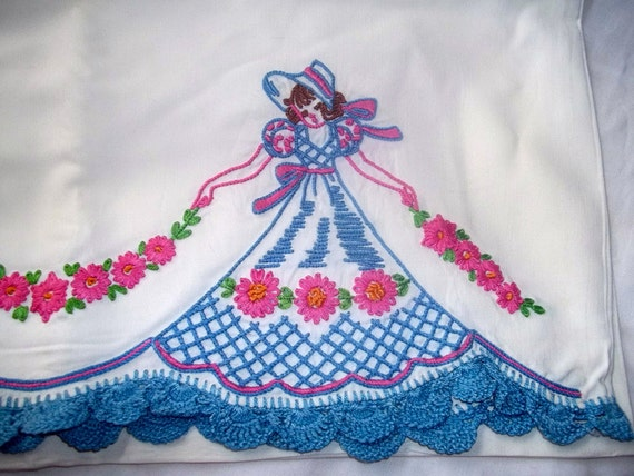 Vintage Embroidered Satin Pillowcase Blue and Pink Victorian Ladies