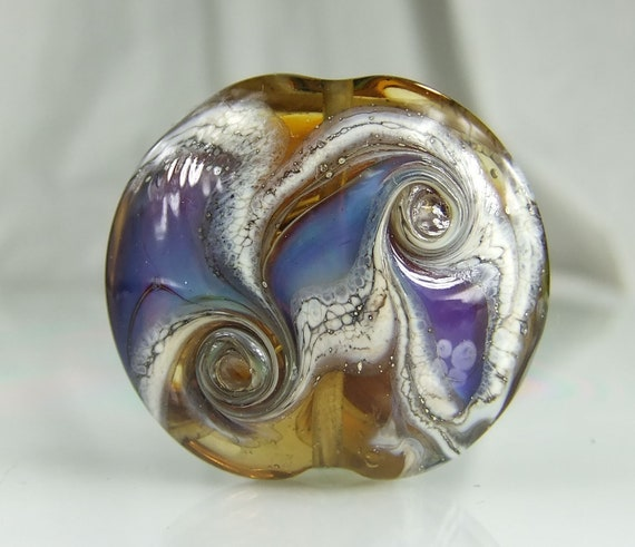 Amber,Silvered Ivory,Blue Lampwork Focal Bead