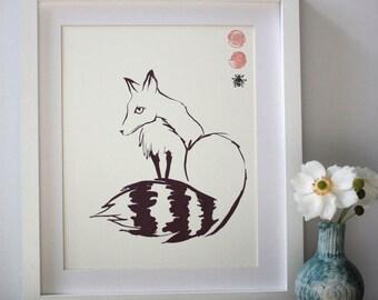 Kitsune fox screenprint (A4 Size)