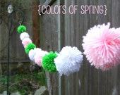 Colors of Spring - Yarn Pom Pom Garland