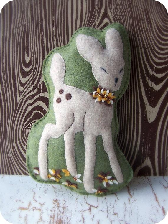 Fall Retro Reindeer - Felt Pillow or Wall Art
