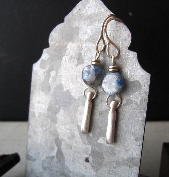 Sky Blue Sky Earrings - Kyanite Stone Bead and Sterling Silver Bead Earrings