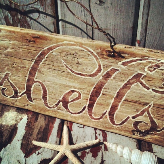Driftwood,Distressed Decor,Reclaimed Wood,Painted wood Sign,Rustic,Beach, Seashore,Seashells Sign,Pool House , Vintage Sign