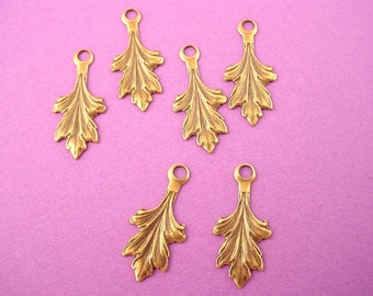 10 brass ox  leaf leaves charm Nature 19mm