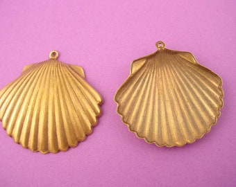 2 brass ox sea shell clam charms 35mm