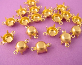 24 Brass Round Prong Settings 35SS 7mm 2 Ring closed Back connector