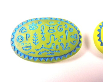 Vintage Lemon Lime and Blue Hieroglyph Plastic Cabs