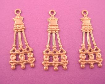 6 brass art nouveau vertical column charms 26mm