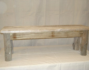 "Driftwood Bench for 50 inch Trestle Table/  (50"" x 15"" x 17 - 23"" high)"